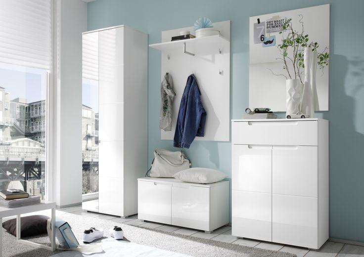 Garderoben-Set weiss Hochglanz Woody 32-00090