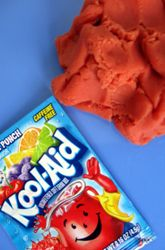Scented play dough recipe using kool-aid. It's gotta smell good.