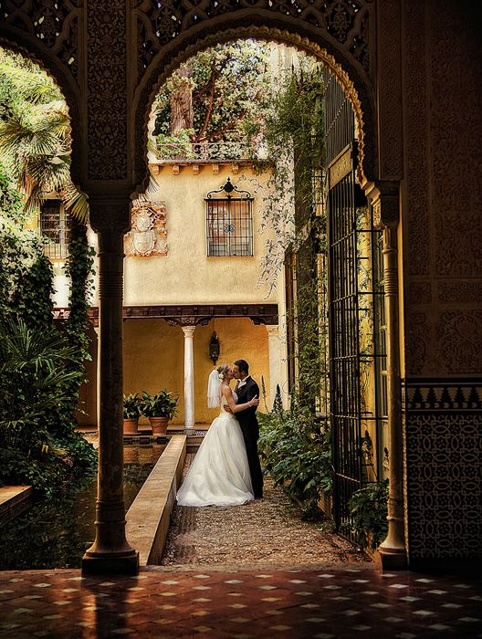 Destination wedding in Spain, couple embrace