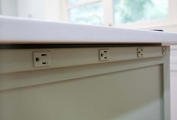 Great idea for extra outlets without seeing them: Under-counter Outlet Strips