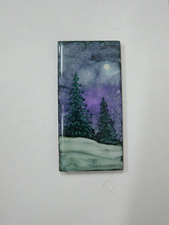 "Alcohol Ink art on ceramic tile 2""x4"" with magnet back. Pinetree winter scene moonlight art tree magnet by ArtworksEclectic on etsy"