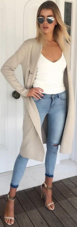 #fall #work #outfits   Nude Duster + White Top + Jeans