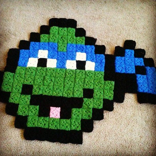 Crochet Pattern For Ninja Turtle Blanket : TMNT Leonardo pixel crochet rug by grannysfanny Crochet ...