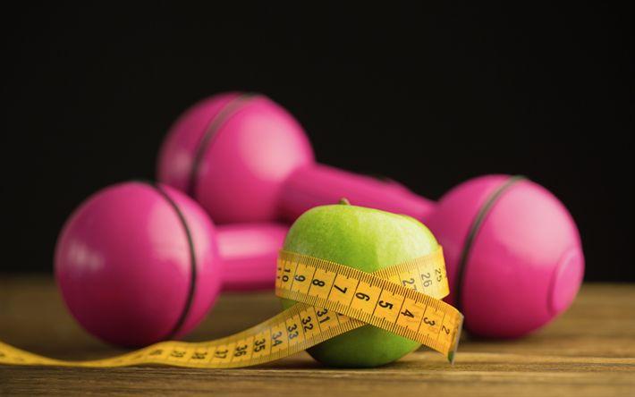 Hämta bilder viktminskning, kost, grönt äpple, måttbandet, bantning, rosa hantlar