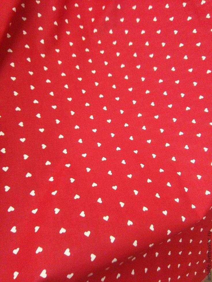 Купить Портьерная ткань сатин хлопок 349412 красная сердечки - ярко-красный, шторы для девочки
