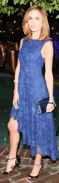 Camilla Belle's black pumps, blue lace dress, and clutch handbag that she wore in Los Angeles style id