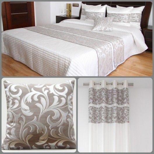 Biela dekoračná prešívaná sada do spálne s ornamentami