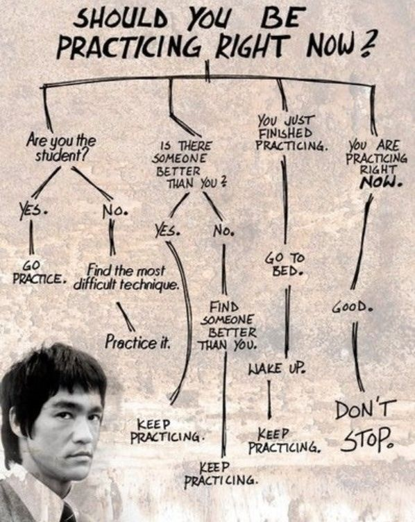 should you be practicing right now flow chart infographic meme imgur Bruce Lee