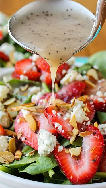 Copycat Cafe Zupas Poppyseed Dressing and Spinach Bleu Cheese Salad