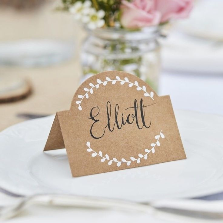 Make sure your guests know exactly where they are sitting with our kraft Place cards The beautiful crisp white vine detail looks gorgeous against the