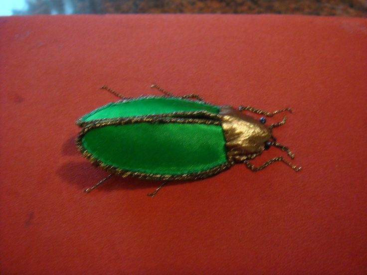 My stumpwork beetle made for my grandson on a box lid.