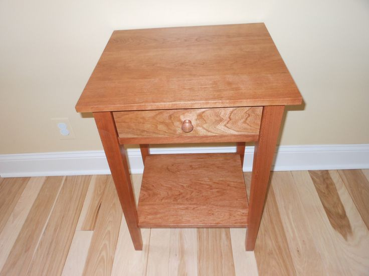 Cherry Nightstand with Shelf   Cherry stain by CreationsByCharles on Etsy https://www.etsy.com/listing/212611091/cherry-nightstand-with-shelf-cherry