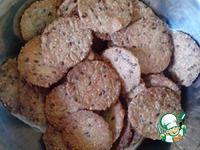 """Печенье-крекер Ингредиенты для """"Печенье-крекер """"Фитнес"""""""":  Мука пшеничная (можно использовать цельнозерновую) — 227 г  Вода — 100 мл  Семена льна — 3 ст. л.  Семечки подсолнуха — 6 ст. л.  Кунжут — 6 ст. л.  Сахар (можно коричневый сахар, либо мед) — 2 ст. л.  Соль — 1/4 ч. л.  Масло подсолнечное (для смазывания ) — 2 ст. л.    Источник: http://www.povarenok.ru/recipes/show/109361/"""