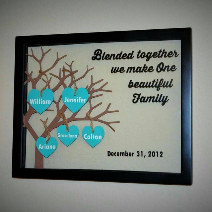 Blended Family Tree Personalized Floating Frame Wedding Engagement Gift    Hearts Beautiful Custom Sign Shabby Shic Rustic Home Wall Decor