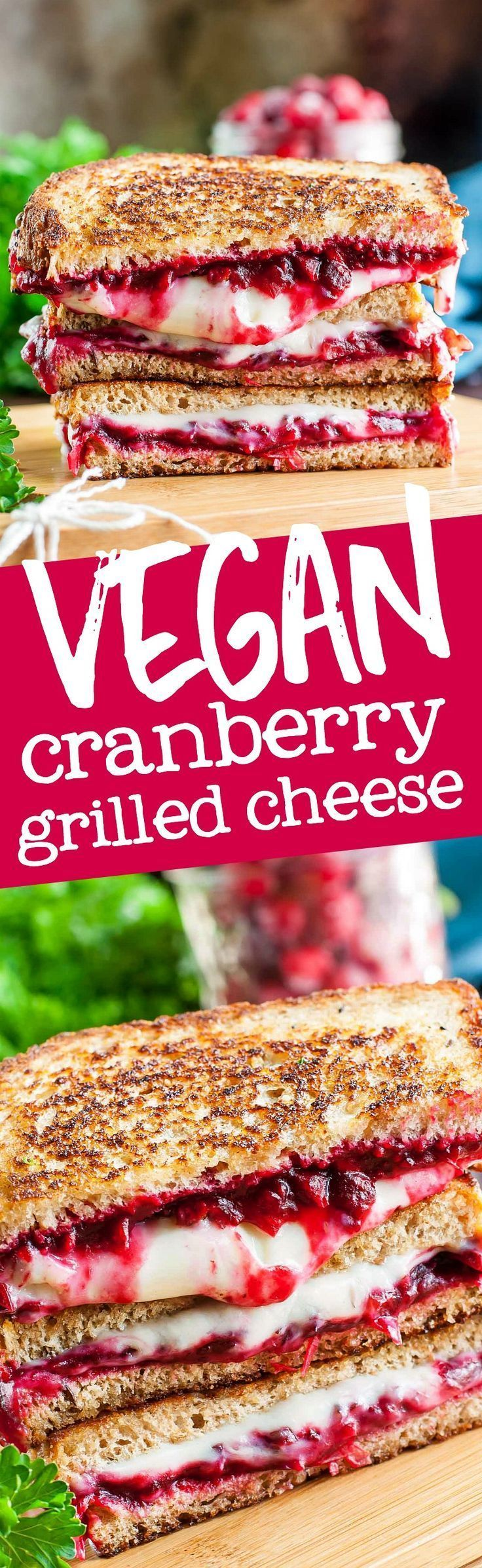 Snag some leftover cranberry sauce from your holiday meal ( Thanksgiving, I'm looking at you! ) and make this easy cheezy VEGAN cranberry grilled cheese!