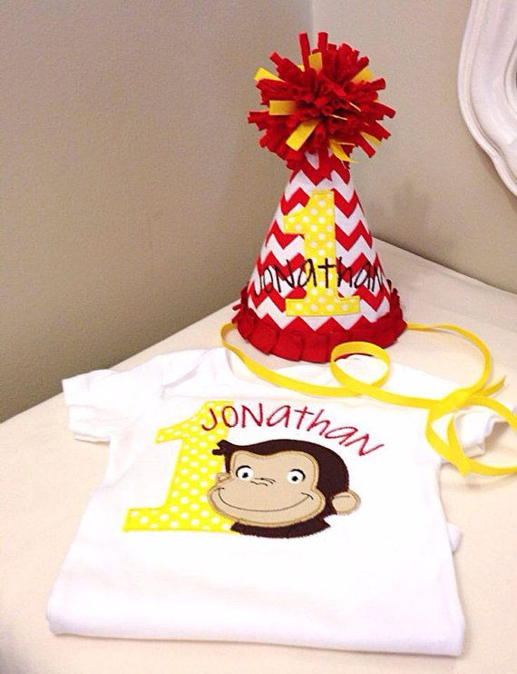 Curious George birthday shirt onesie custom appliquéd & embroidered. By Sixpence Crafts on Etsy, $20.00