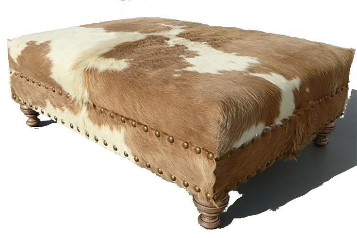 Custom Cowhide Ottoman - Beige/White
