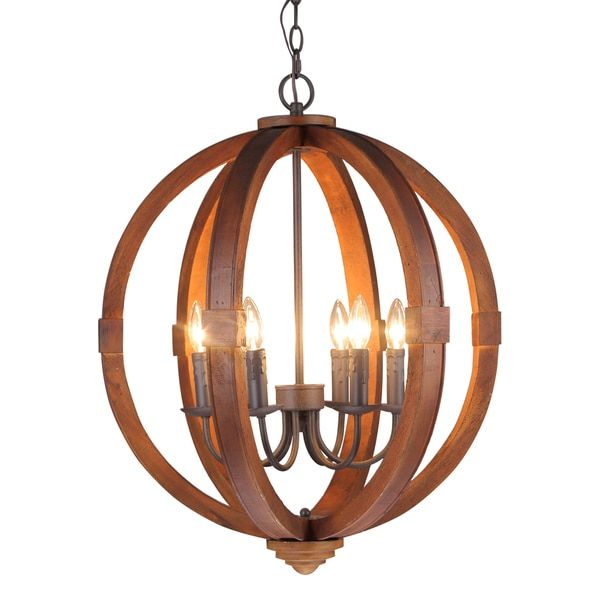 journee home 28 in wood 6 light hard wired orb chandelier