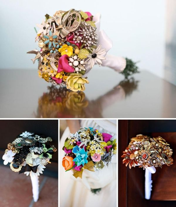 Glamorous Bridal Bouquet Ideas: Reuse Your Broken Jewelry, (Grandma's costume jewelry = something old and something blue!)