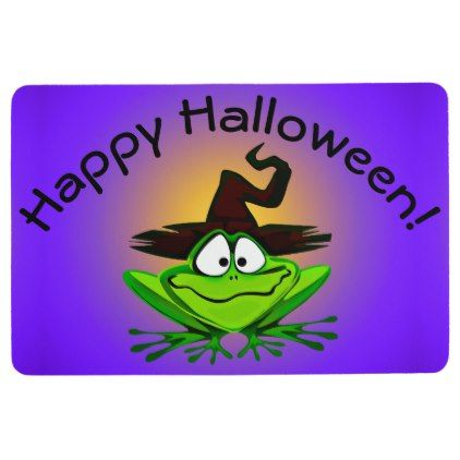 Witchy Frog on Purple Floor Mat - Halloween happyhalloween festival party holiday