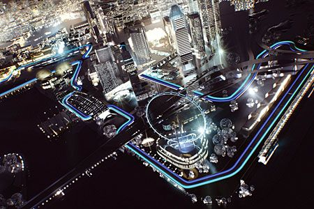 Marina Bay F1 Circuit, Singapore.  Fell in love with F1 after visiting the Singapore GP in 2009.  Would love to get a gig flying around the world watching fast cars in a future life...