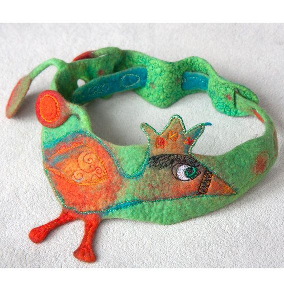 Joyful ooak textile necklace sculpture with a by ArianeMariane