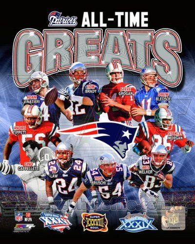 New England Patriots All Time Greats NFL Team Composite Photo 11x14 by NFL. $19.99. Custom cropped on high gloss photographic paper, this officially licensed 11x14 composite color photo celebrates the New England Patriots 3 Super Bowl Championships and All Time Greats: Tom Brady, Steve Grogan, Drew Bledsoe, Ty Law, Stanley Morgan, Wes Welker, Tedy Bruschi, Gino Cappelletti, Andre Tippett and Adam Vinatieri.  Official Patriots, NFL and NFLPA Logos as well as Official ...