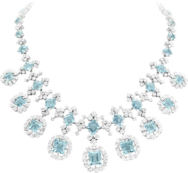 Van Cleef & Arpels Aquamarine and Diamond Necklace, circa 1951.