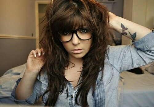 Brown Indie scene hair