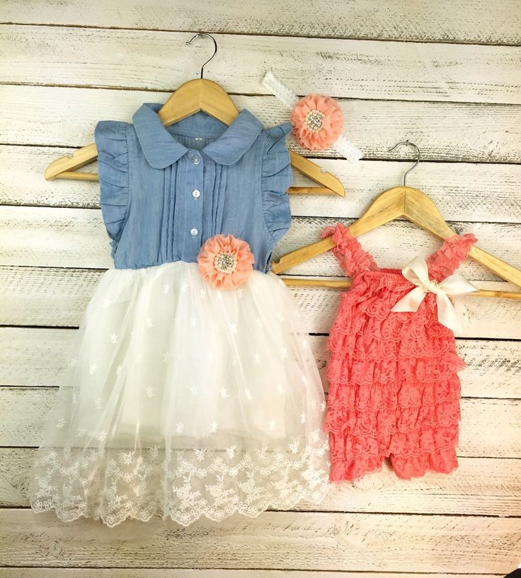 Matching sister dress, little sister, big sister, lace dress, coordinating, matching headband, denim dress, coral, flower girl by MJfordiva on Etsy