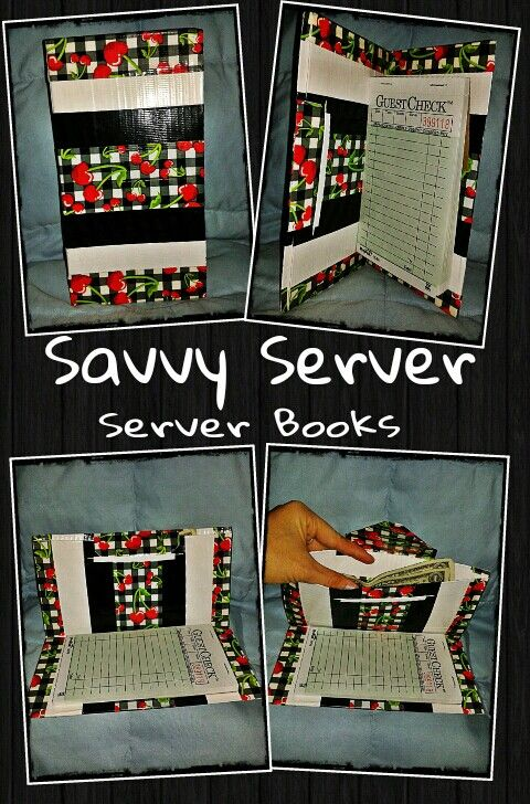 "Handmade, lightweight, duct tape server books! One pocket for cash and receipts and one for your guest check book or notepad! At 8"" long and 4"" wide, Savvy Server Books fit perfectly into any apron without getting in the way! Purchase yours today at : http://savvyserver.storenvy.com or at http://facebook.com/savvyserverbooks"