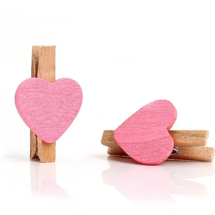 50pcs Mini Love Heart Wooden Clothespins Craft Clips DIY Clothes Photo Paper Peg Clothespin