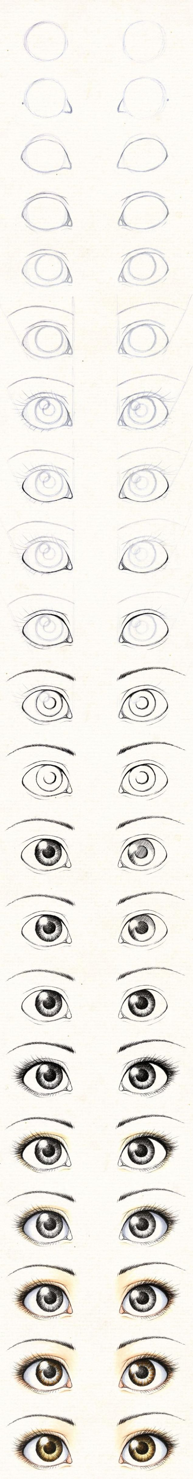 I've seen step by step things to show how to draw eyes though this has the most steps I've ever seen.