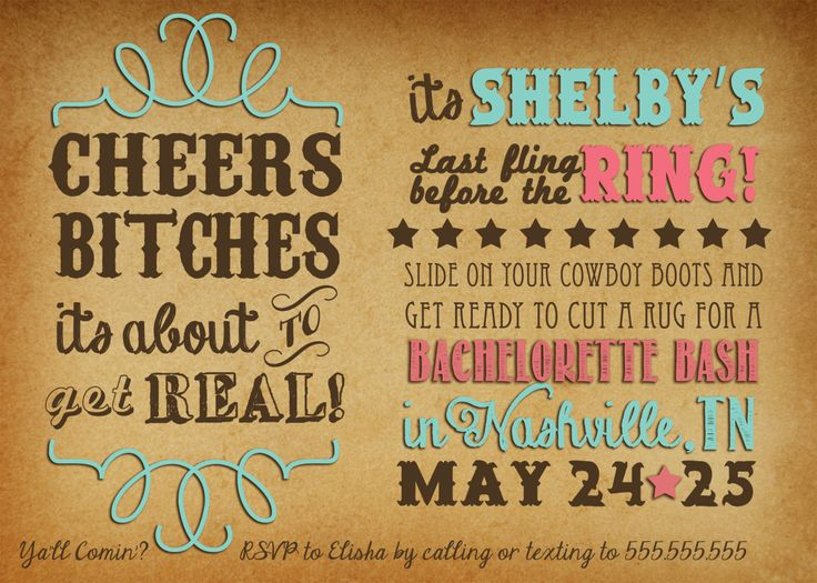 Cheers Bitches Western Bachelorette Party by LeeshaLooDesignz, $15.00
