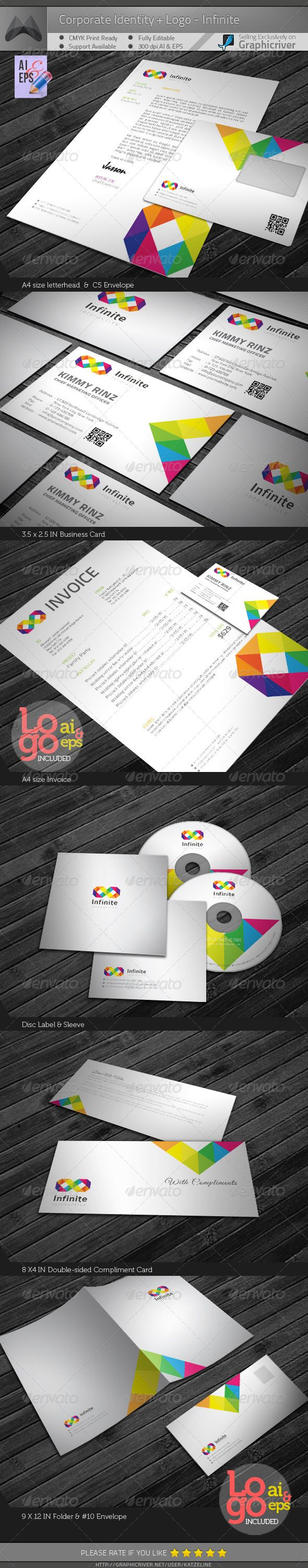 Corporate Identity Package - Infinite  #GraphicRiver        Corporate Identity Package – 'Infinite' contains:  1. Letterhead : A4 size   2. Invoice : A4 size   3. Business Card : 3.5X2.5 in   4. C5 Envelope   5. #10 Envelope   6. Disk Label   7. Disk Sleeve   8. Compliments: 8X4 in   9. Presentation Folder: 9×12in  300dpi CMYK Print Ready + 0.25in bleed  Adobe AI CS4 & EPS 10.0  Logo Included (AI & EPS)__Please the 'Screenshots' to see the Logo Preview  Exclusive on Graphicriver Only  Font…