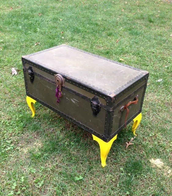 Vintage Trunk Turned Coffee Table With Whimsical By
