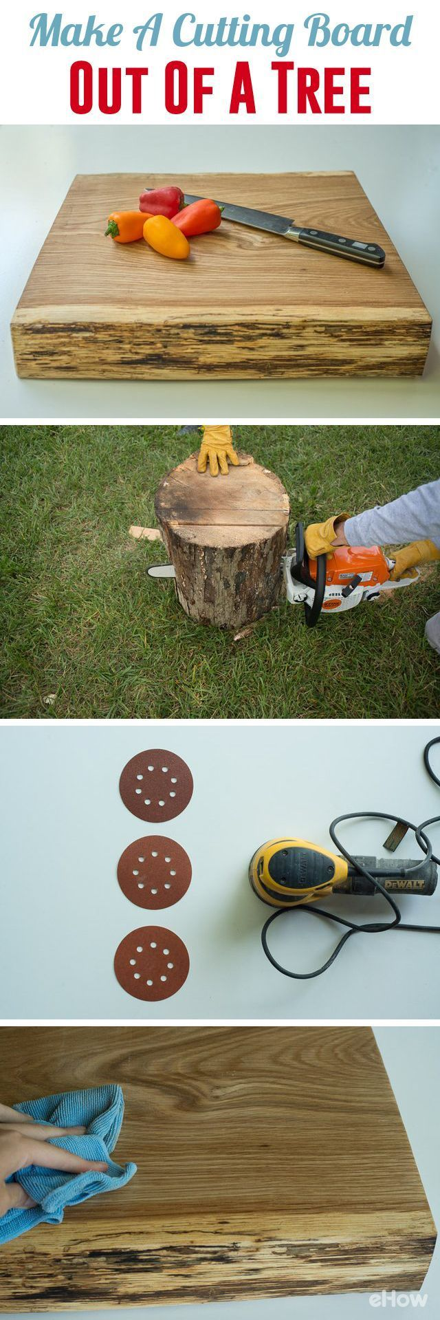 DIY your own custom cutting board out of a tree trunk!