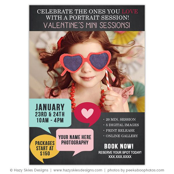 Valentine's Day Mini Session Template for Photographers #photography #mini #session #marketing #board #advertisement #template #photoshop #kids #children #baby #portraits #photographer