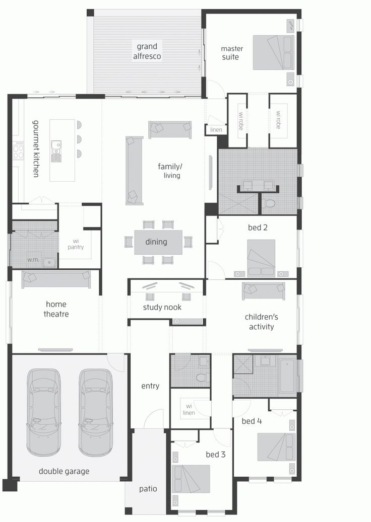 Really like this plan. I would extend the kitchen and make the laundry room enter ace from the hallway instead. Put the master suite upstairs above kids rooms. Make the theater an office. Switch the last kids bedroom and play area so that the play area is next to living area. Make a big play/ theater where master suite is.