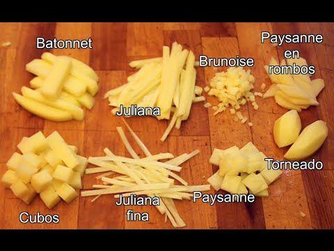 Aprenderemos a cortar en batonnet, juliana (julienne), brunoise, cubos, paysanne cuadrados, paysanne en rombos y a tornear una patata.