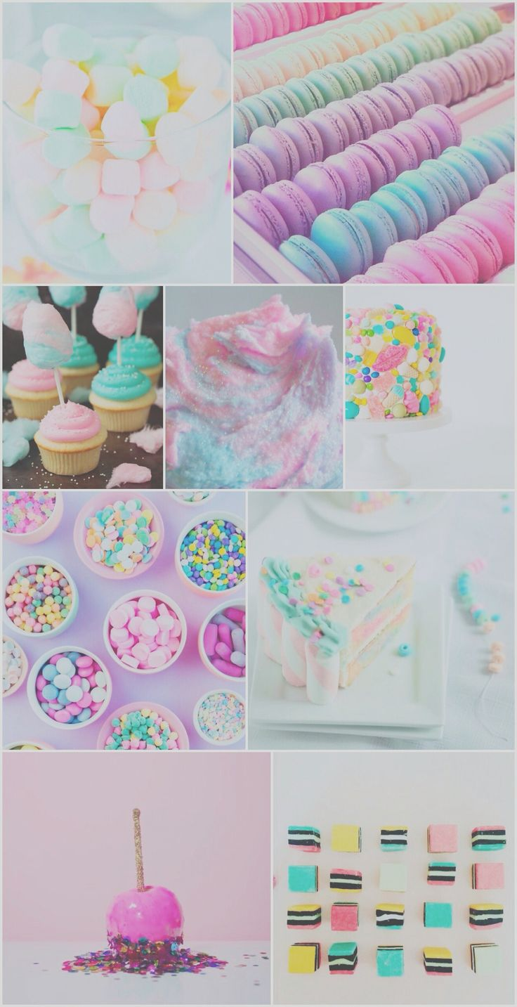 Sweet treats wallpaper, background, iPhone, android, cake, pretty, candy, sweets, floss, pastel, colorful, pink, purple, mint, hd