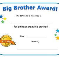 big brother award certificate
