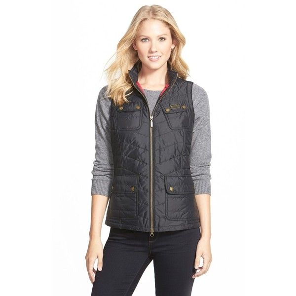 Barbour 'Worldcrosser' Quilted Vest ($150) ❤ liked on Polyvore featuring outerwear, vests, black, barbour gilet, barbour vest, fitted vest, utility vest and barbour