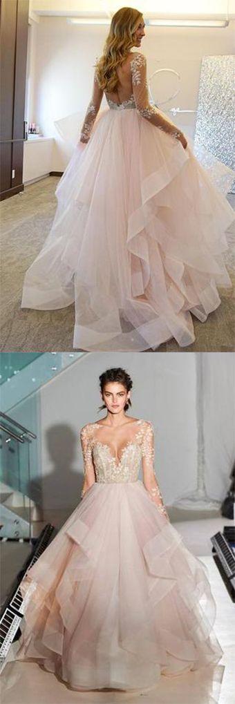 Fashion Ball Gown Lace Sheer Illusion Tulle Backless Long Sleeveless Asymmetrical Wedding Dress,#PinkLaceBridalDress,#PromDressmeuk,#weddinggowns
