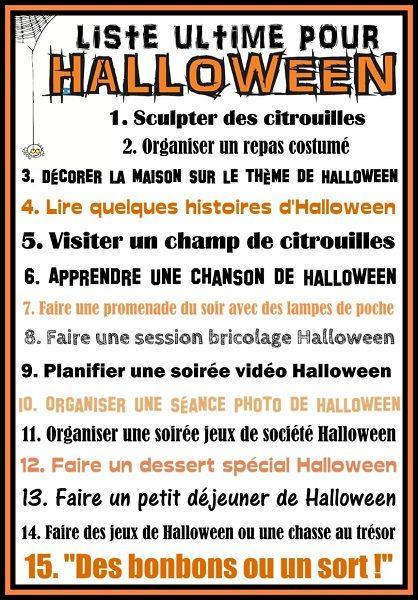 ne liste que vous pouvez imprimer et garder sous la main (ou afficher) pour  avoir des idées de choses à faire sur le thème de Halloween pendant les  vacances