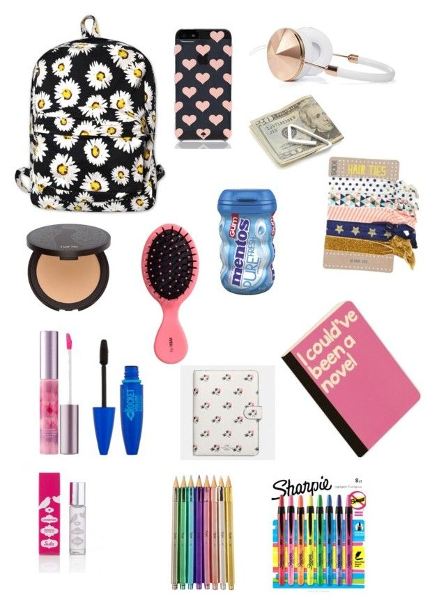 """What's in my backpack"" by bethanymota09 ❤ liked on Polyvore featuring interior, interiors, interior design, home, home decor, interior decorating, Sharpie, tarte, Crate and Barrel and Kate Spade"