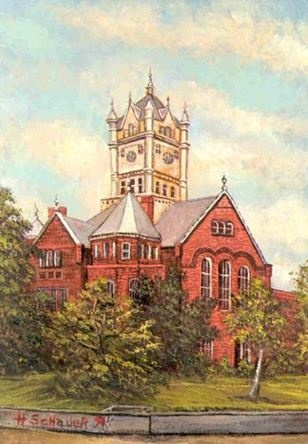 Painting of 1896 Madison County courthouse,  Madisonville Texas