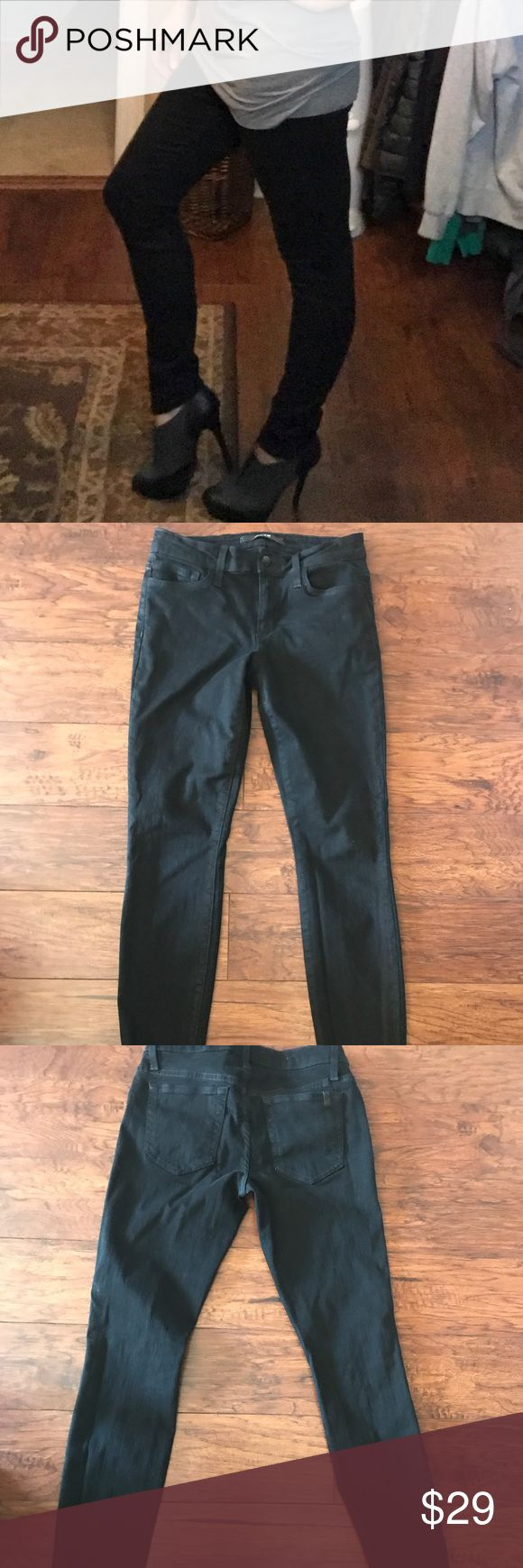 Paige denim Black pants size 27 These are really cute, semi-stretchy skinny cut pants. They're kind of a cross between black jeans and leggings (material wise). Size 27 worn once. Paige Jeans Jeans Skinny