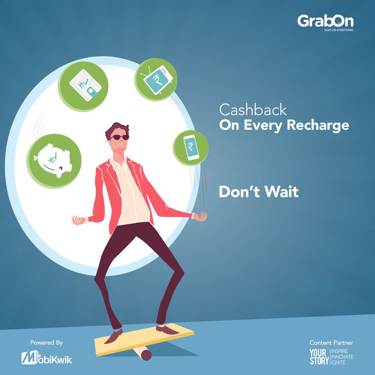 Recharge For Cashback! Cashback on Every Recharge. Win NOW! Contest powered by Mobikwik; in association with YourStory at www.grabon.in #GrabOnToMobikwik