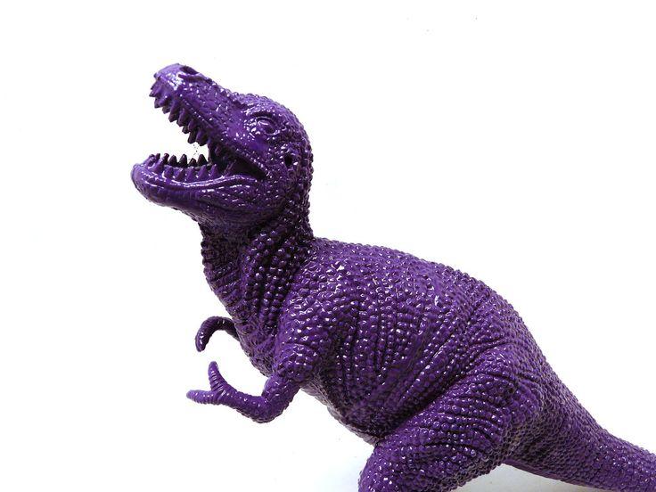 plastic dinosaur, violet, upcycled toy, kitsch figurine, altered art, purple home decor, kids, science, geekery, nerd, dinosaurs.